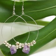 Natural Amethyst Point & Handmade Ethiopian beads