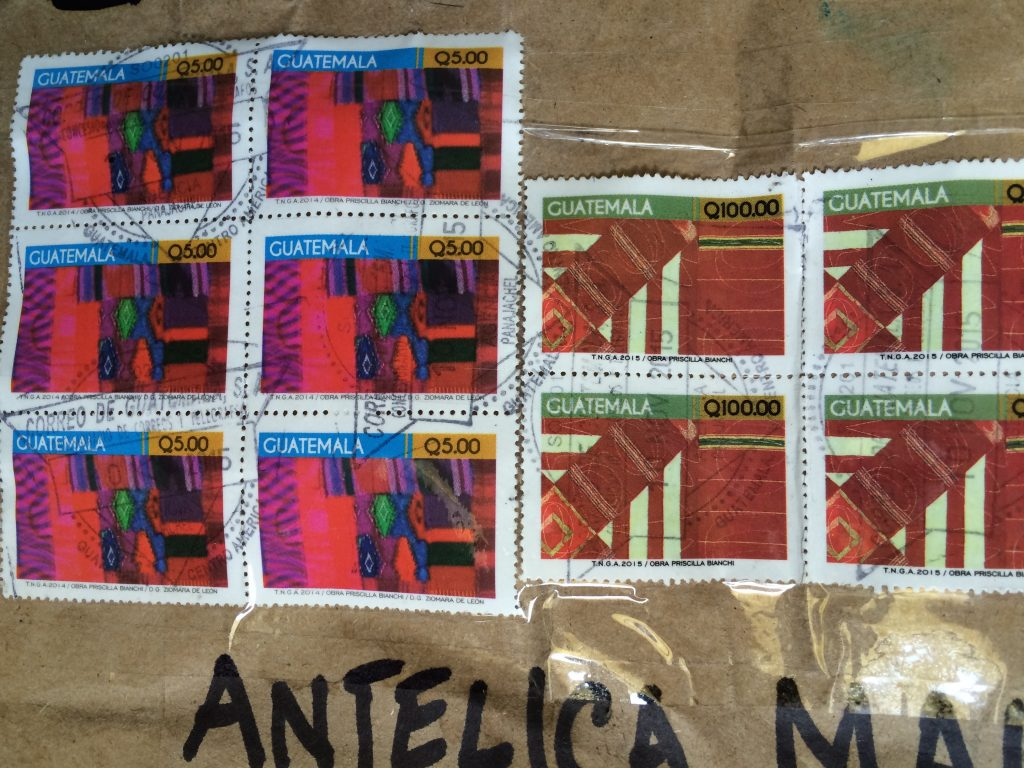 Stamps on the box from Guatemala